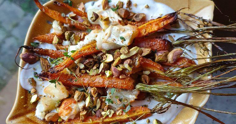 Ugnsbakade morötter med Chèvre och andra göttigheter